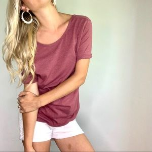 Z by Zella Burgundy Rolled Short Sleeve Tee Shirt